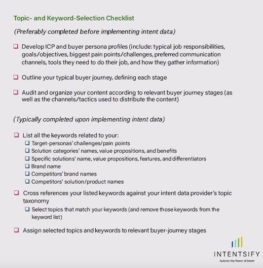 Topic- and Keyword- Selection Checklist